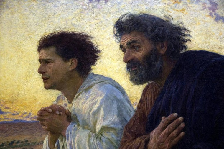 Art for easter john and peter running to the tomb and for Biola jesus mural
